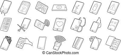 Smartphone icon set, outline style - Smartphone icon set....