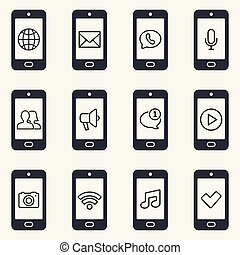 Smartphone icon set. Smartphone function icons