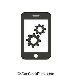 Smartphone icon with gears on white background.