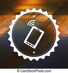 smartphone, icona, su, triangolo, fondo.