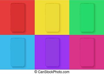 Smartphone icons set on the different bright colors square background for infographic, visual ui, commercial, advertisement, app demonstration vector illustration