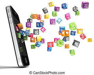 smartphone icons - 3d image of smartphone and flying cube...
