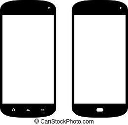Smartphone icons.