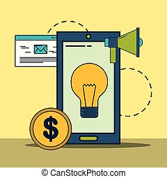 smartphone idea creativity megaphone money digital marketing