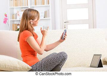 smartphone, idioma, sordo, señal, mujer, utilizar
