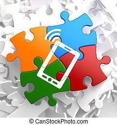 smartphone, ikon, på, multicolor, puzzle.