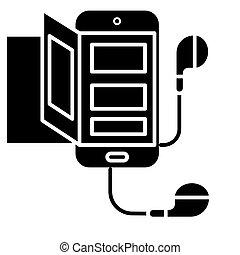 smartphone, illustratie, -, vrijstaand, meldingsbord, vector, zwarte achtergrond, pictogram, audio, boek