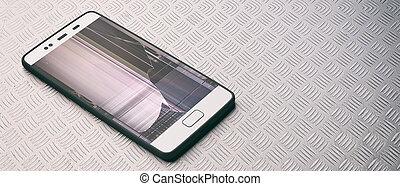 smartphone, illustration., 3d, industriel, écran, arrière-...