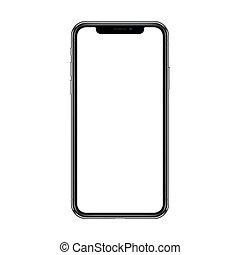 smartphone, illustration., arrière-plan., screen., isolé, réaliste, vecteur, vide, blanc