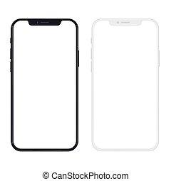 smartphone, illustration., mince, screen., réaliste, vecteur, noir, version, vide, nouveau, blanc