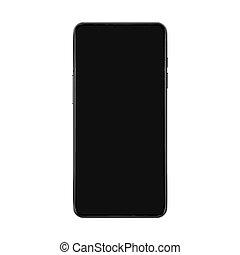 smartphone, illustration., mockup, écran, isolé, n'importe quel, réaliste, interface, vecteur, noir, arrière-plan., essai, blanc, présentation, ou, utilisateur