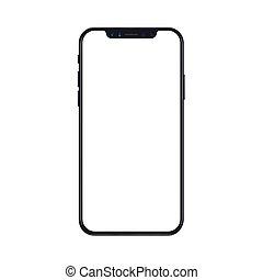 smartphone, illustration., mockup, mobile, isolé, téléphone, screen., réaliste, vecteur, fond, vide, blanc