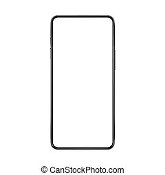 smartphone, illustration., non, cadre, haut, réaliste, vecteur, vide, frameless, blanc, imaginé, écran, railler