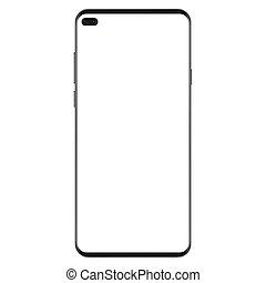smartphone, illustration., non, génération, cadre, mince, réaliste, vecteur, noir, version, vide, nouveau, blanc écran