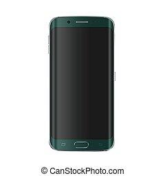 smartphone, illustration., réaliste, moderne, screen., téléphone, vecteur, version, vide, nouveau, blanc