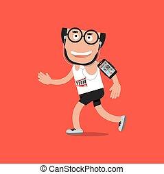 smartphone, illustration, spring, vektor, hörlurar, man