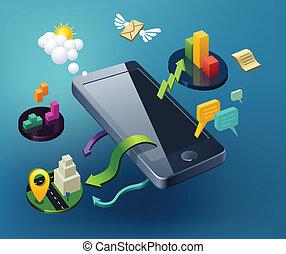 smartphone, ilustración