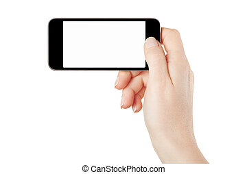 Smartphone in female hand taking photo or video isolated on...