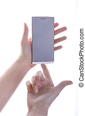 smartphone in female hands isolated