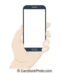 Smartphone in hand. Blank screen. Flat design