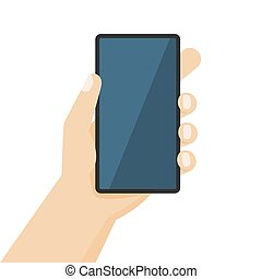 Human hand holding the smartphone. Vector illustration