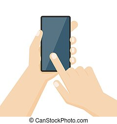 Human hand holding the smartphone with blank screen. Vector