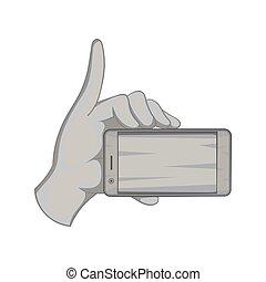 Smartphone in hand icon, black monochrome style