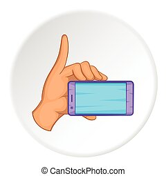 Smartphone in hand icon, cartoon style