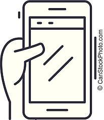 Smartphone in hand line icon concept. Smartphone in hand vector linear illustration, symbol, sign
