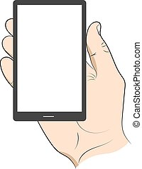Smartphone in hand man. Vector illustration .