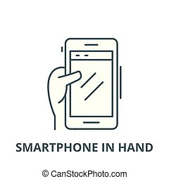 Smartphone in hand vector line icon, linear concept, outline sign, symbol