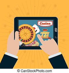 Smartphone in hand with the online casino on screen. Gambling app concepts