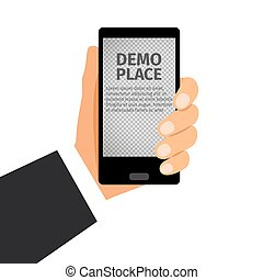 Smartphone in hand with transparent background