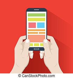 Smartphone in hands. Flat design