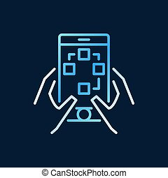 Smartphone in hands vector colorful line icon