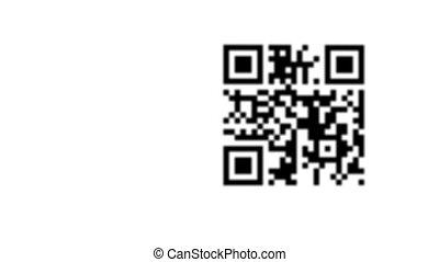 smartphone, in, mano, scansione, qr, codice