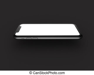 Smartphone in perspective - mockup front side with white screen Isolated on black background. 3D illustration.
