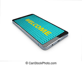smartphone in style carpet with word welcome, 3d illustration