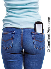 Smartphone in womans rear pocket - A smartphone in the rear...