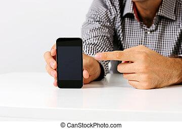 smartphone, indicare, immagine, closeup, schermo, uomo