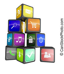 Smartphone industry concept: cubes with color application icons isolated on white background