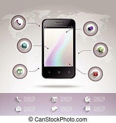 smartphone, infographic, gabarit