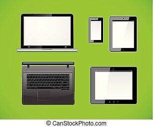 smartphone, informatique, tablette, arrière-plan., mobile, isolé, screen., pc, vecteur, vert, vide, ordinateur portable