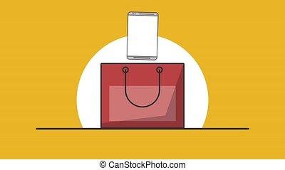 Smartphone inside shopping bag HD animation
