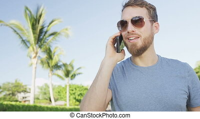 smartphone, intelligent, appeler, téléphone, conversation, homme