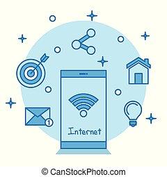 smartphone, internet, conception, appareil numérique, technologie, exposer