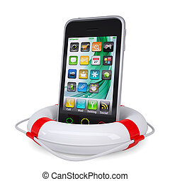 Smartphone into a lifeline. Isolated render on a white...