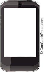 smartphone, isolé, illustration, vecteur, arrière-plan noir, blanc