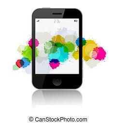 smartphone, isolé, illustration, vecteur, eclabousse, fond, blanc