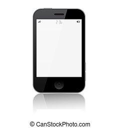 smartphone, isolé, illustration, vecteur, fond, blanc
